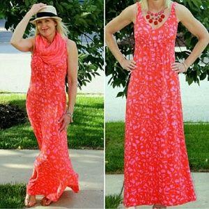 CAbi Jitney Red Pink Brushstroke Dress Small